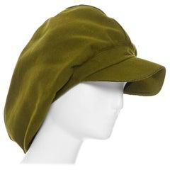 YOHJI YAMAMOTO military green wool short beak oversized draped beanie hat