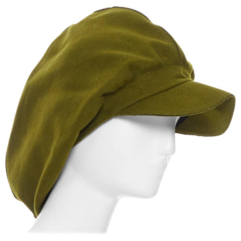 YOHJI YAMAMOTO military green wool short beak oversized draped beanie hat For Sale