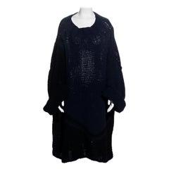 Yohji Yamamoto navy and black knitted wool oversized sweater, fw 1984