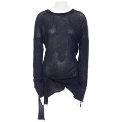 YOHJI YAMAMOTO navy ramie cotton asymmetric hem self tie sweater JP2 M