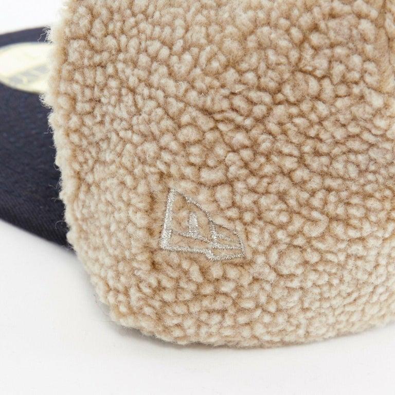 Men's YOHJI YAMAMOTO NEW ERA logo embroidery faux shearling aviator cap hat 7 1/4 For Sale