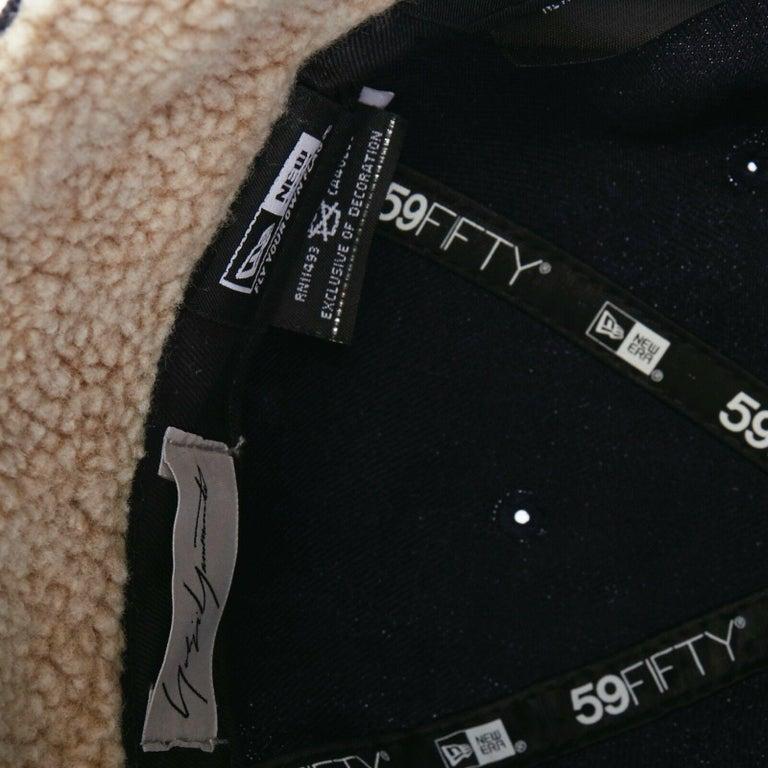 YOHJI YAMAMOTO NEW ERA logo embroidery faux shearling aviator cap hat 7 1/4 For Sale 1