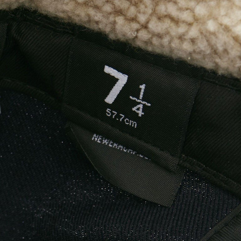 YOHJI YAMAMOTO NEW ERA logo embroidery faux shearling aviator cap hat 7 1/4 For Sale 2