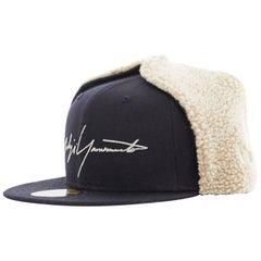 YOHJI YAMAMOTO NEW ERA logo embroidery faux shearling aviator cap hat 7 1/4