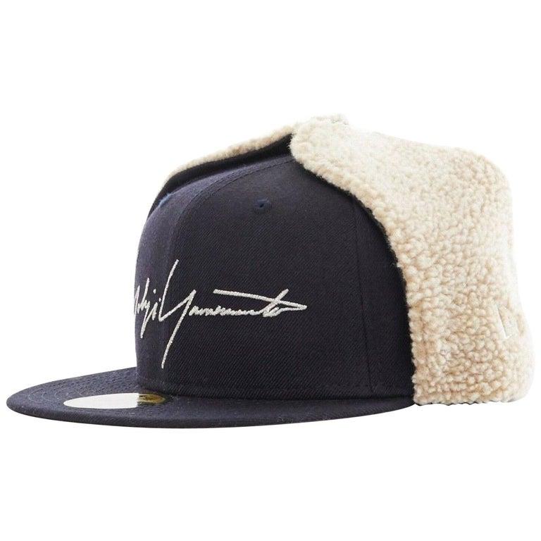 YOHJI YAMAMOTO NEW ERA logo embroidery faux shearling aviator cap hat 7 1/4 For Sale