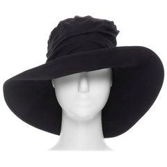 YOHJI YAMAMOTO NOIR black tencil wide brim pleated fedora hat