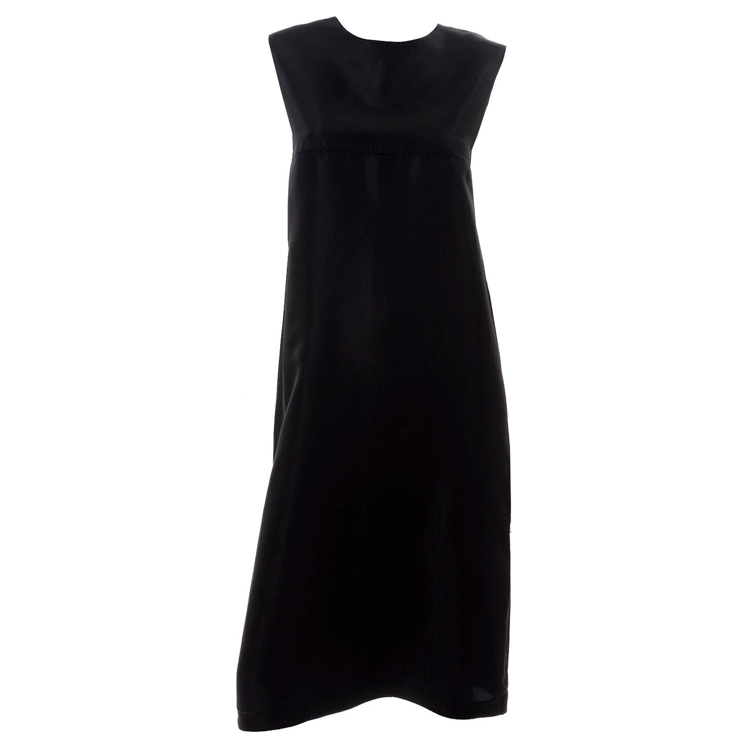 Yohji Yamamoto +Noir Sleeveless Black Textured Rayon Column Dress