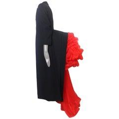 Yohji Yamamoto Original 1995 Bustle Coat with Red Tulle Bustle