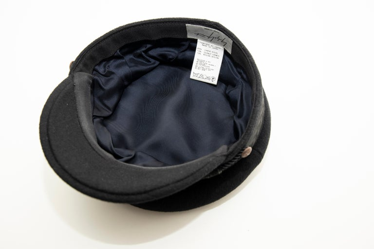 Yohji Yamamoto Pour Homme Black Wool Cashmere Greek Fisherman's Cap, Fall 2012 For Sale 8