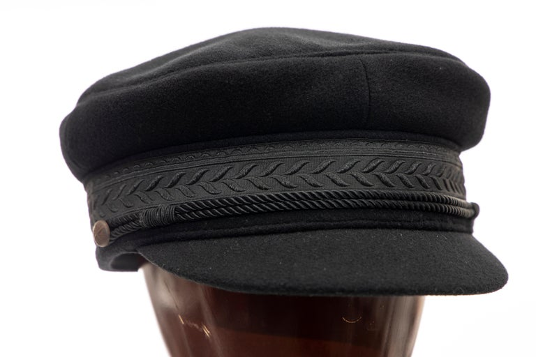 Yohji Yamamoto Pour Homme Runway, Fall 2012 black wool, cashmere Greek fisherman's cap with braided cord hatband and fully lined.  Circumference: 23