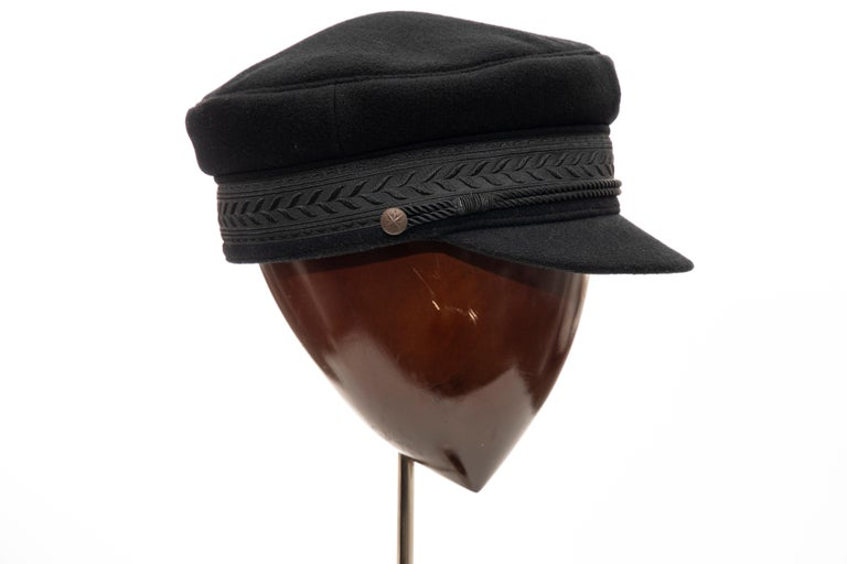 Women's or Men's Yohji Yamamoto Pour Homme Black Wool Cashmere Greek Fisherman's Cap, Fall 2012 For Sale