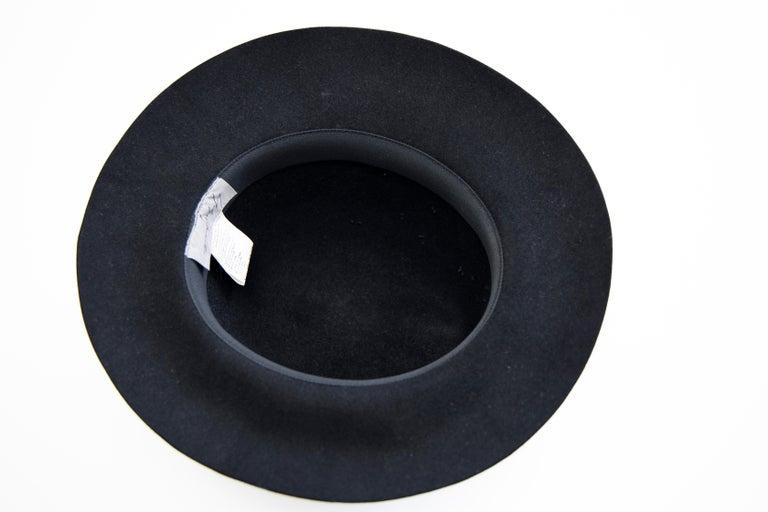 Yohji Yamamoto Pour Homme Black Wool Felt Appliquéd Leather Fedora, ca. 1990's For Sale 6