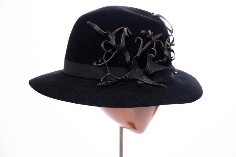 Men's Yohji Yamamoto Pour Homme Black Wool Felt Appliquéd Leather Fedora, ca. 1990's For Sale