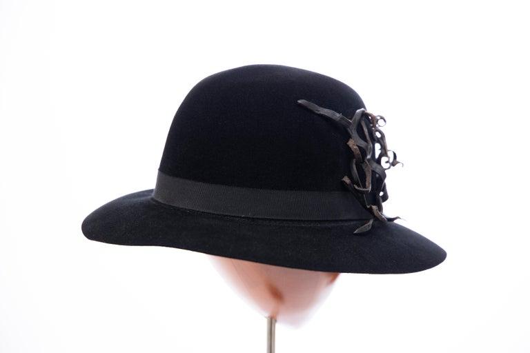 Yohji Yamamoto Pour Homme Black Wool Felt Appliquéd Leather Fedora, ca. 1990's For Sale 1