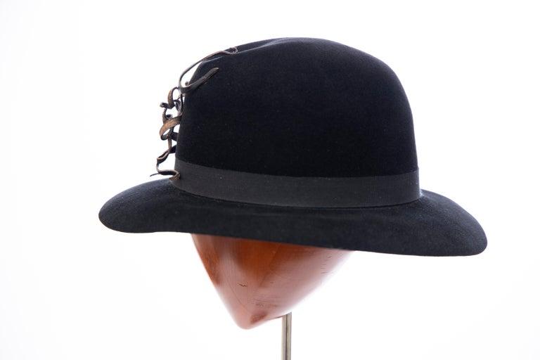 Yohji Yamamoto Pour Homme Black Wool Felt Appliquéd Leather Fedora, ca. 1990's For Sale 2