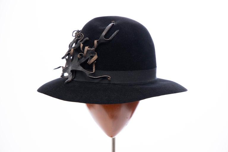 Yohji Yamamoto Pour Homme Black Wool Felt Appliquéd Leather Fedora, ca. 1990's For Sale 3
