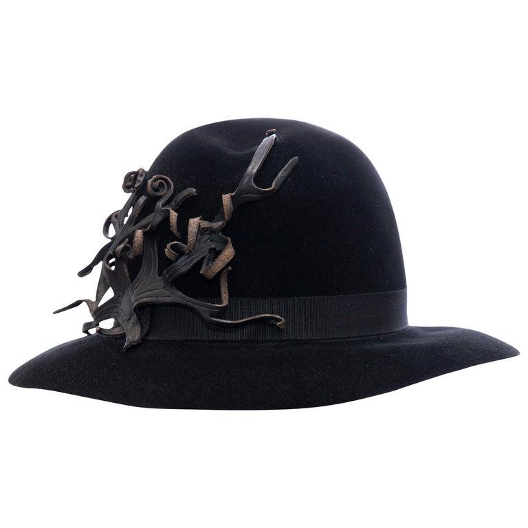 Yohji Yamamoto Pour Homme Black Wool Felt Appliquéd Leather Fedora, ca. 1990's For Sale