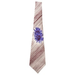 Yohji Yamamoto Pour Homme Charivari Silk Printed Floral Striped Tie, ca. 1980's