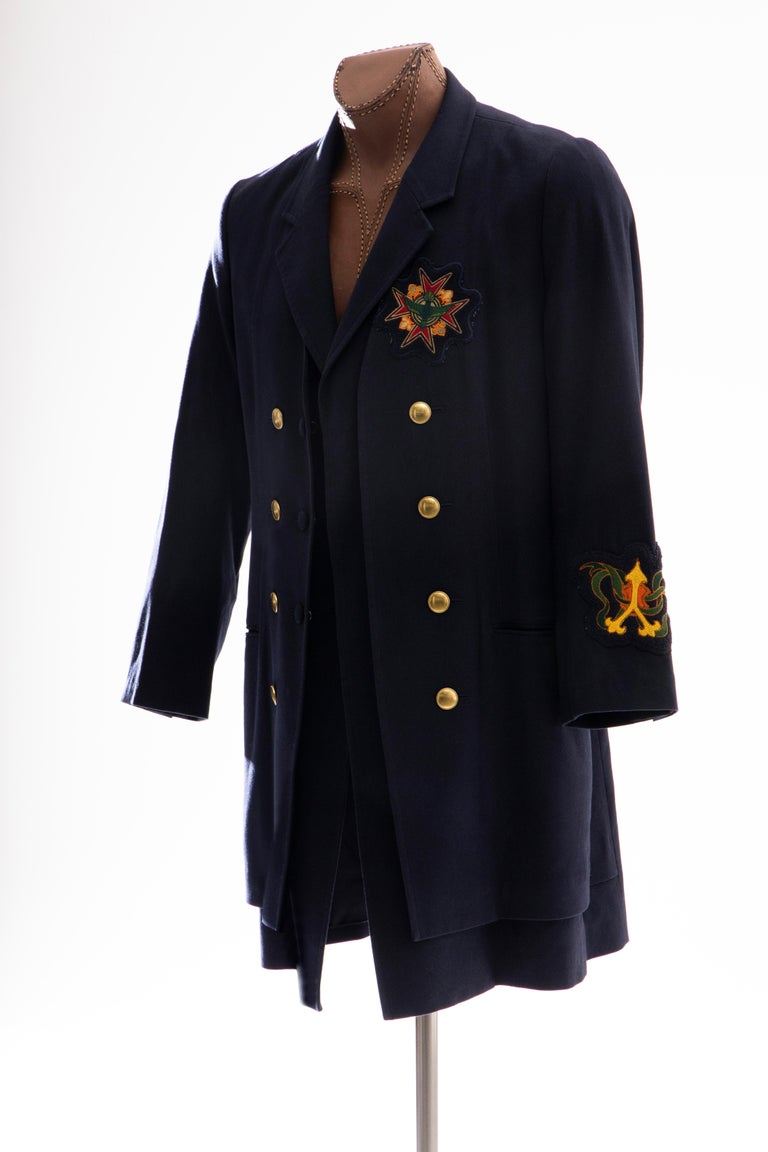 Yohji Yamamoto Pour Homme Cotton Wool Navy Coat Embroidered Patches, Fall 2012 For Sale 5