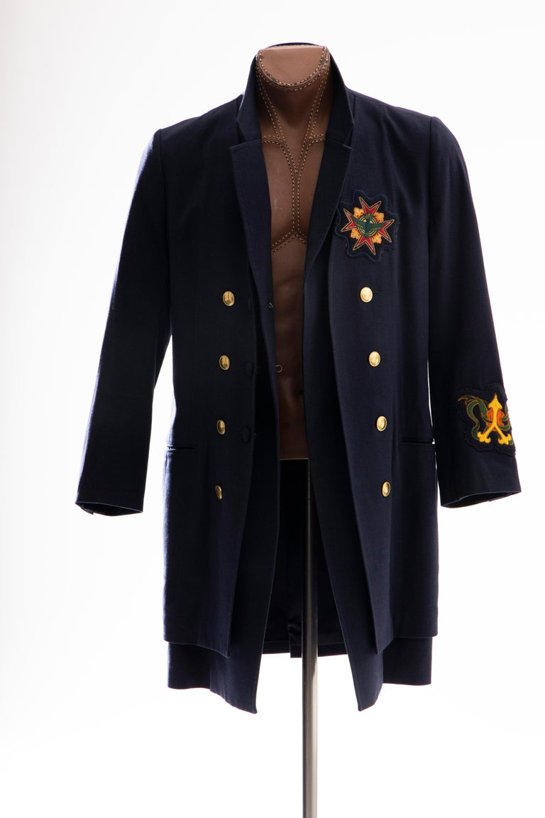 Yohji Yamamoto Pour Homme Cotton Wool Navy Coat Embroidered Patches, Fall 2012 For Sale 6
