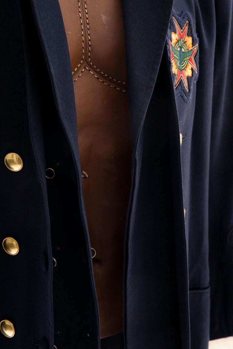 Yohji Yamamoto Pour Homme Cotton Wool Navy Coat Embroidered Patches, Fall 2012 For Sale 7