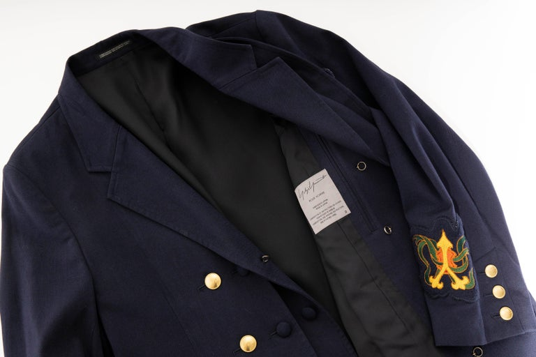 Yohji Yamamoto Pour Homme Cotton Wool Navy Coat Embroidered Patches, Fall 2012 For Sale 9