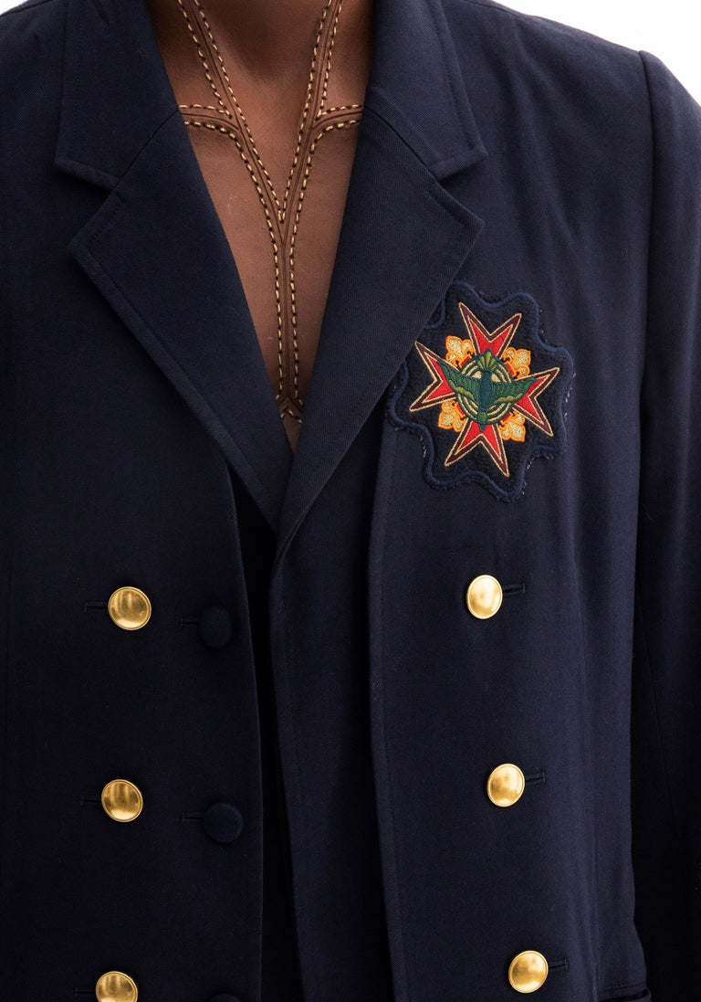 Black Yohji Yamamoto Pour Homme Cotton Wool Navy Coat Embroidered Patches, Fall 2012 For Sale