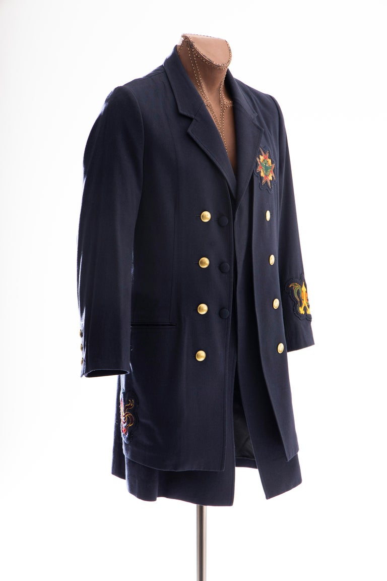 Yohji Yamamoto Pour Homme Cotton Wool Navy Coat Embroidered Patches, Fall 2012 In Excellent Condition For Sale In Cincinnati, OH