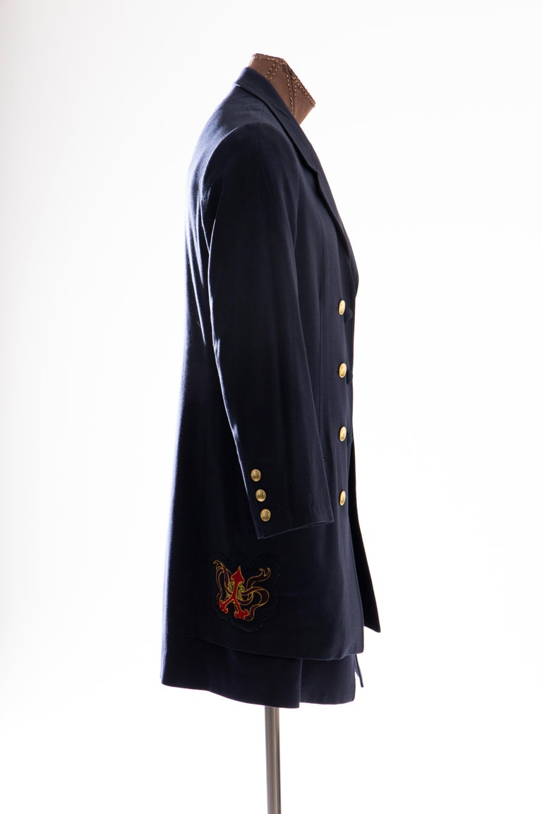 Men's Yohji Yamamoto Pour Homme Cotton Wool Navy Coat Embroidered Patches, Fall 2012 For Sale