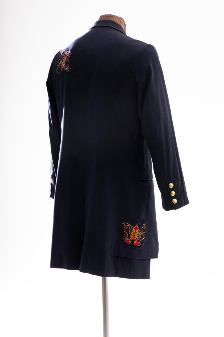 Yohji Yamamoto Pour Homme Cotton Wool Navy Coat Embroidered Patches, Fall 2012 For Sale 1
