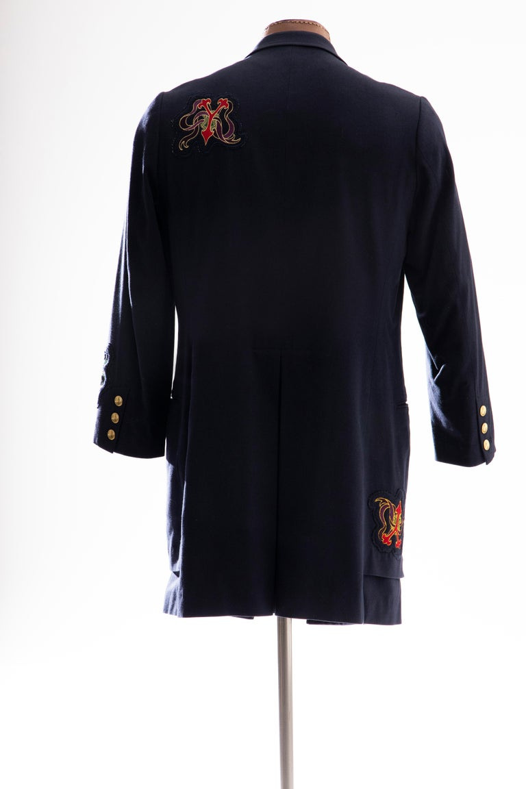 Yohji Yamamoto Pour Homme Cotton Wool Navy Coat Embroidered Patches, Fall 2012 For Sale 2