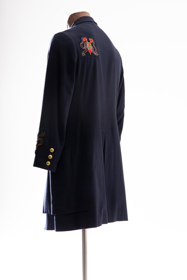 Yohji Yamamoto Pour Homme Cotton Wool Navy Coat Embroidered Patches, Fall 2012 For Sale 3