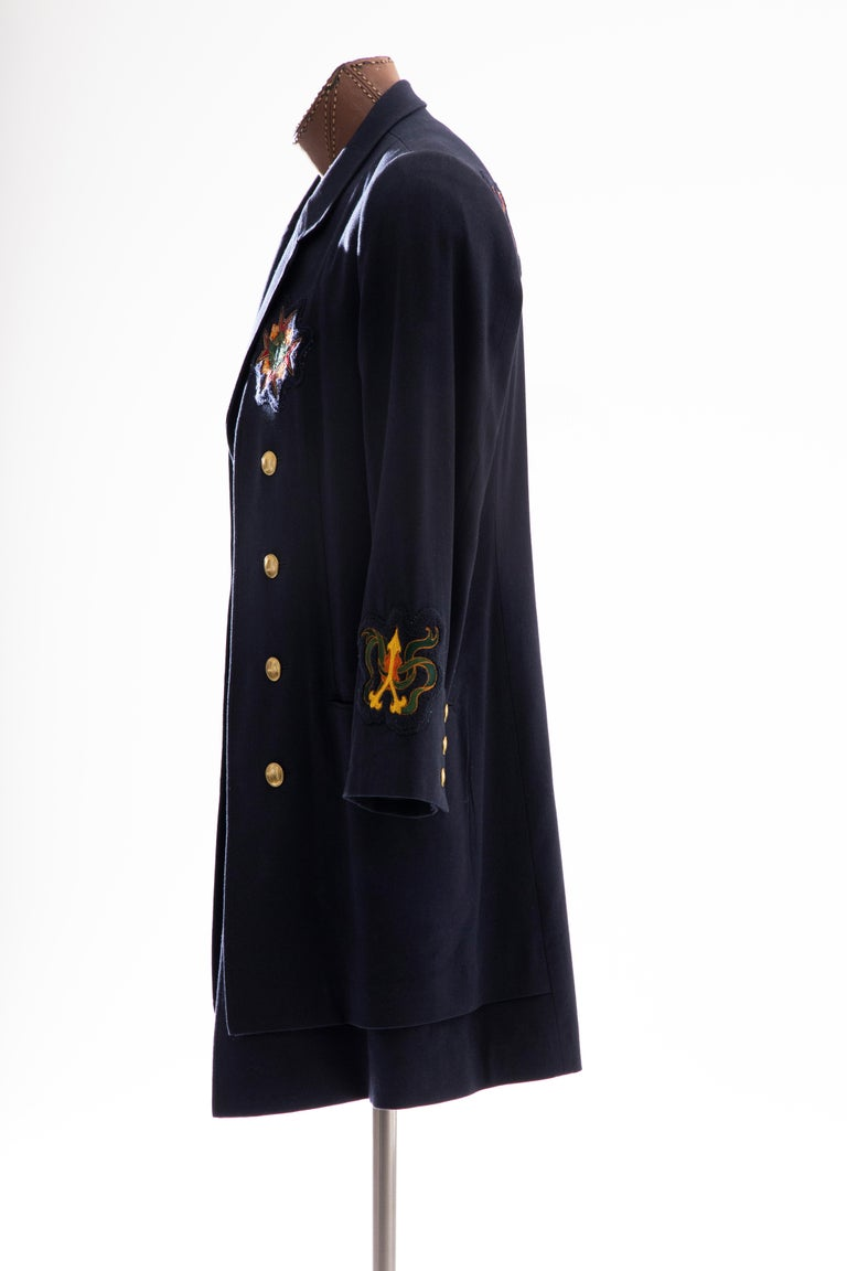 Yohji Yamamoto Pour Homme Cotton Wool Navy Coat Embroidered Patches, Fall 2012 For Sale 4