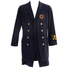 Yohji Yamamoto Pour Homme Cotton Wool Navy Coat Embroidered Patches, Fall 2012