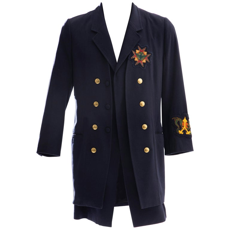 Yohji Yamamoto Pour Homme Cotton Wool Navy Coat Embroidered Patches, Fall 2012 For Sale