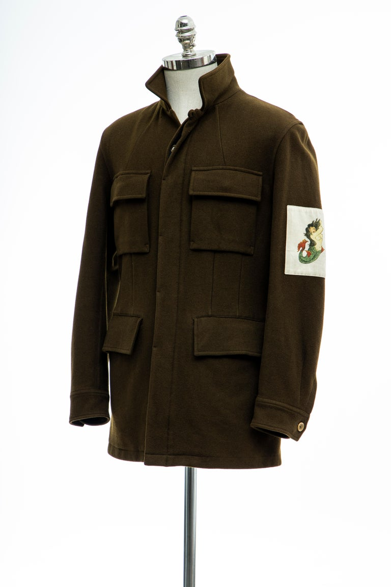 Yohji Yamamoto Pour Homme Men's Wool & Cashmere Printed Patch Jacket, Fall 2003 For Sale 7
