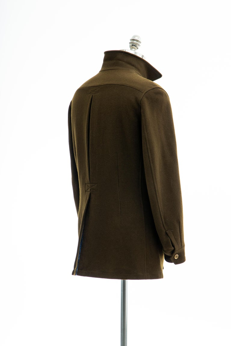 Yohji Yamamoto Pour Homme Men's Wool & Cashmere Printed Patch Jacket, Fall 2003 For Sale 3