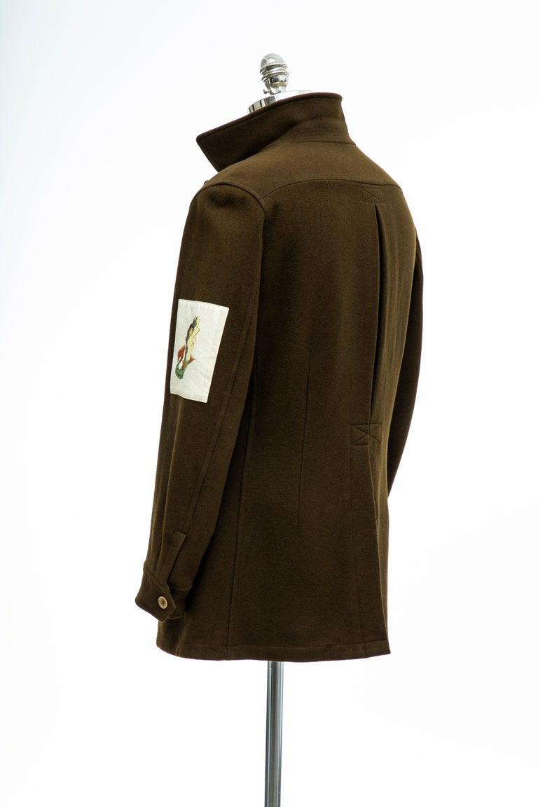 Yohji Yamamoto Pour Homme Men's Wool & Cashmere Printed Patch Jacket, Fall 2003 For Sale 5