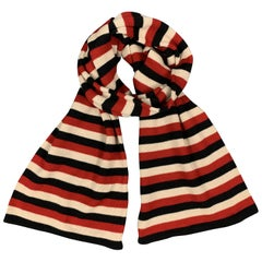 YOHJI YAMAMOTO POUR HOMME Red Beige & Black Striped Wool Scarf