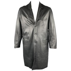 YOHJI YAMAMOTO POUR HOMME Size M Black Solid Leather Notch Lapel Coat