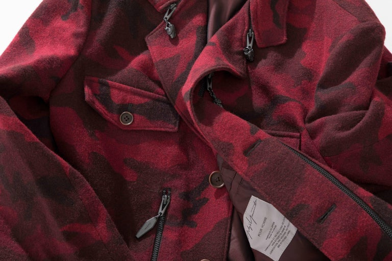 Yohji Yamamoto Pour Homme Wool Camouflage Chesterfield Coat, Fall 2014 For Sale 5