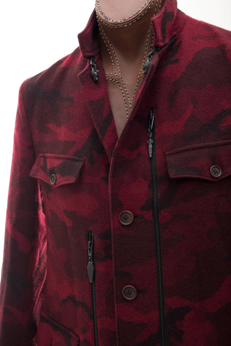 Black Yohji Yamamoto Pour Homme Wool Camouflage Chesterfield Coat, Fall 2014 For Sale