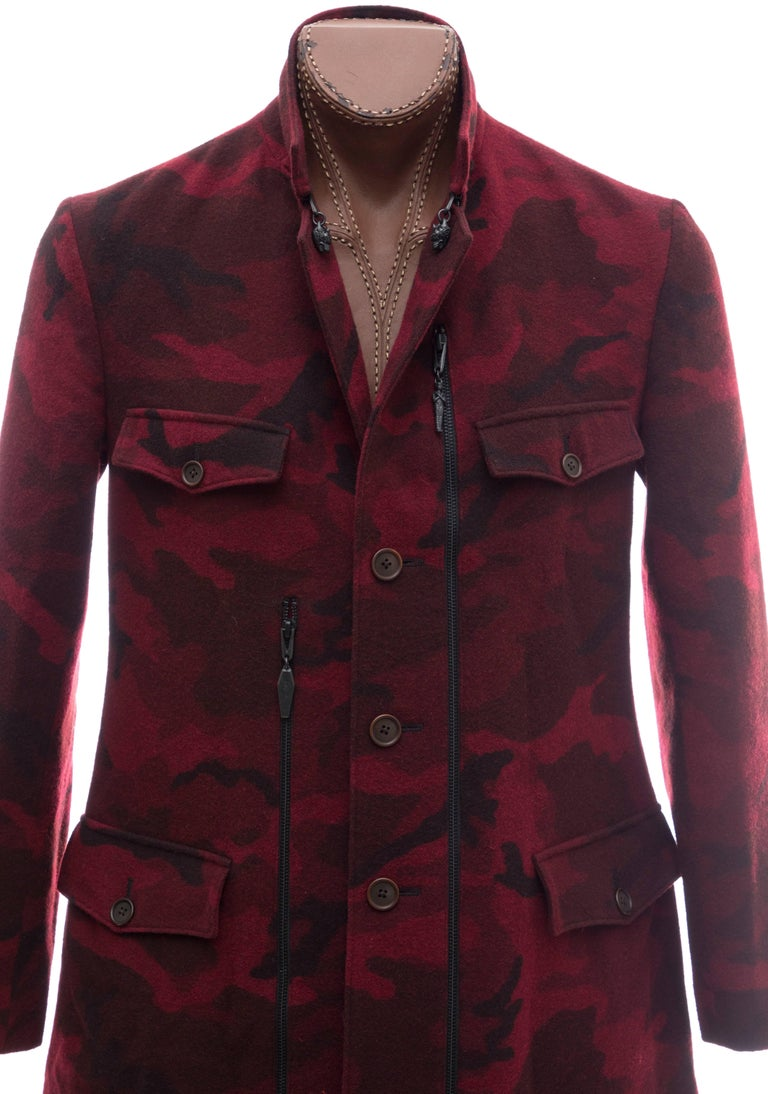 Men's Yohji Yamamoto Pour Homme Wool Camouflage Chesterfield Coat, Fall 2014 For Sale