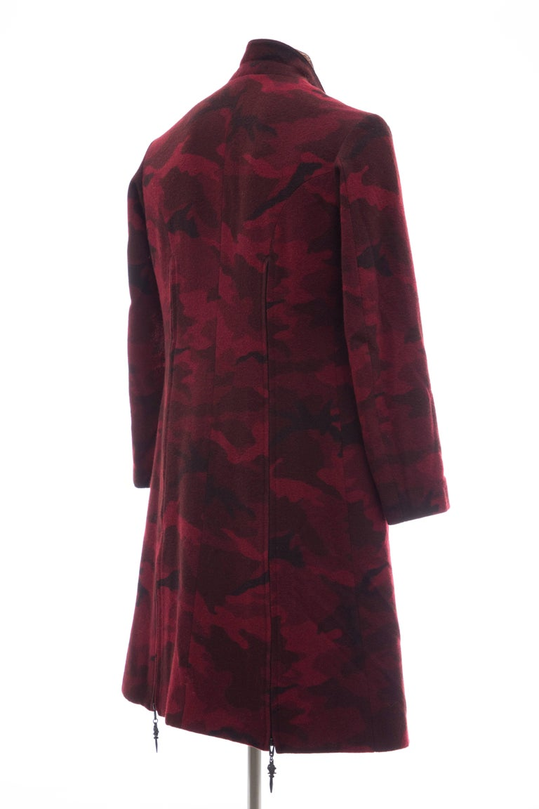 Yohji Yamamoto Pour Homme Wool Camouflage Chesterfield Coat, Fall 2014 For Sale 1