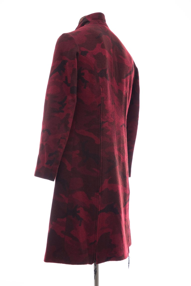 Yohji Yamamoto Pour Homme Wool Camouflage Chesterfield Coat, Fall 2014 For Sale 2