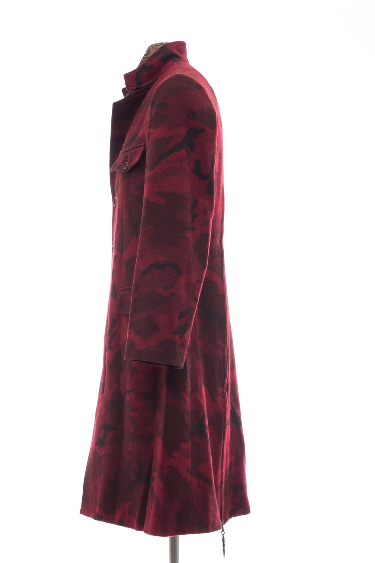 Yohji Yamamoto Pour Homme Wool Camouflage Chesterfield Coat, Fall 2014 For Sale 3