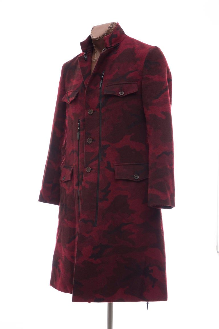 Yohji Yamamoto Pour Homme Wool Camouflage Chesterfield Coat, Fall 2014 For Sale 4