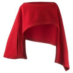 Yohji Yamamoto Red Asymmetric Cropped Top