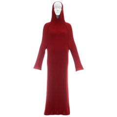Yohji Yamamoto red wool hooded knitted maxi dress, c. 1990s