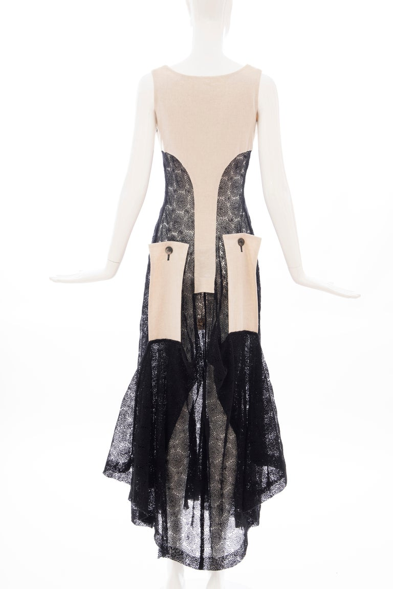 Yohji Yamamoto Runway Black Cotton Lace & Natural Linen Dress, Spring 2005 For Sale 6